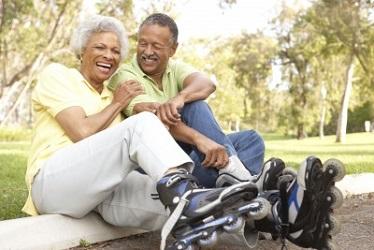 Active Couple on Skates